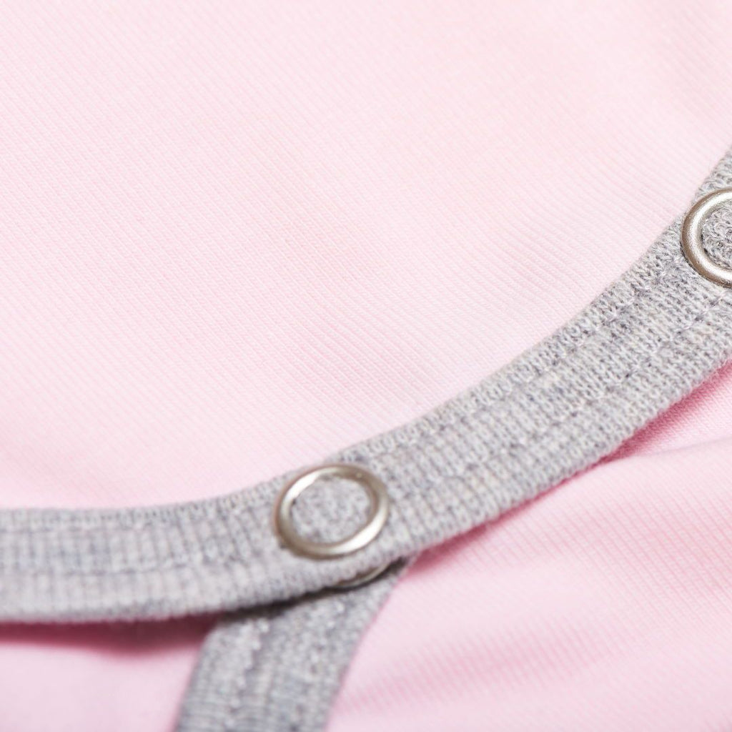 "Short-sleeve baby body ""Baby Pink/Grey"""