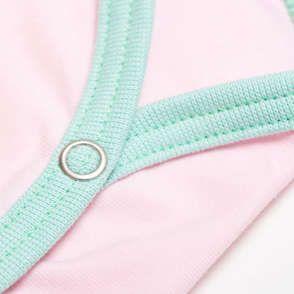 "Short-sleeve baby body ""Baby Pink/Spearmint"""