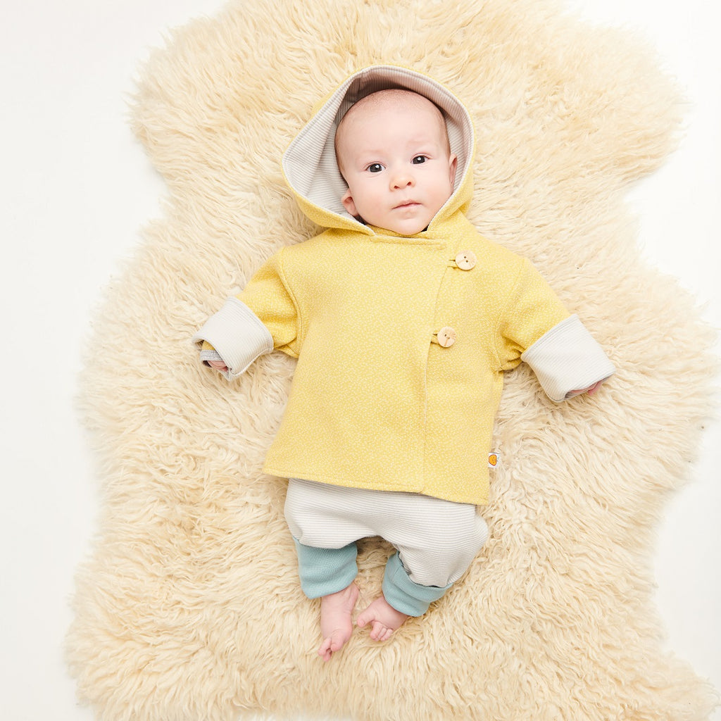 "Reversible baby jacket ""Dotties Bamboo/Rib Glacier"""