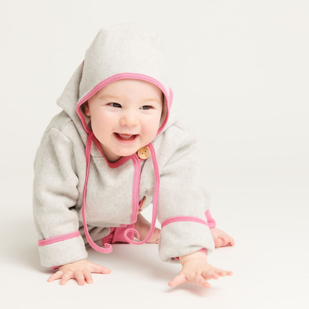 "Fleece baby jacket ""Fleece Grey/Pink"" - Cheeky Apple"