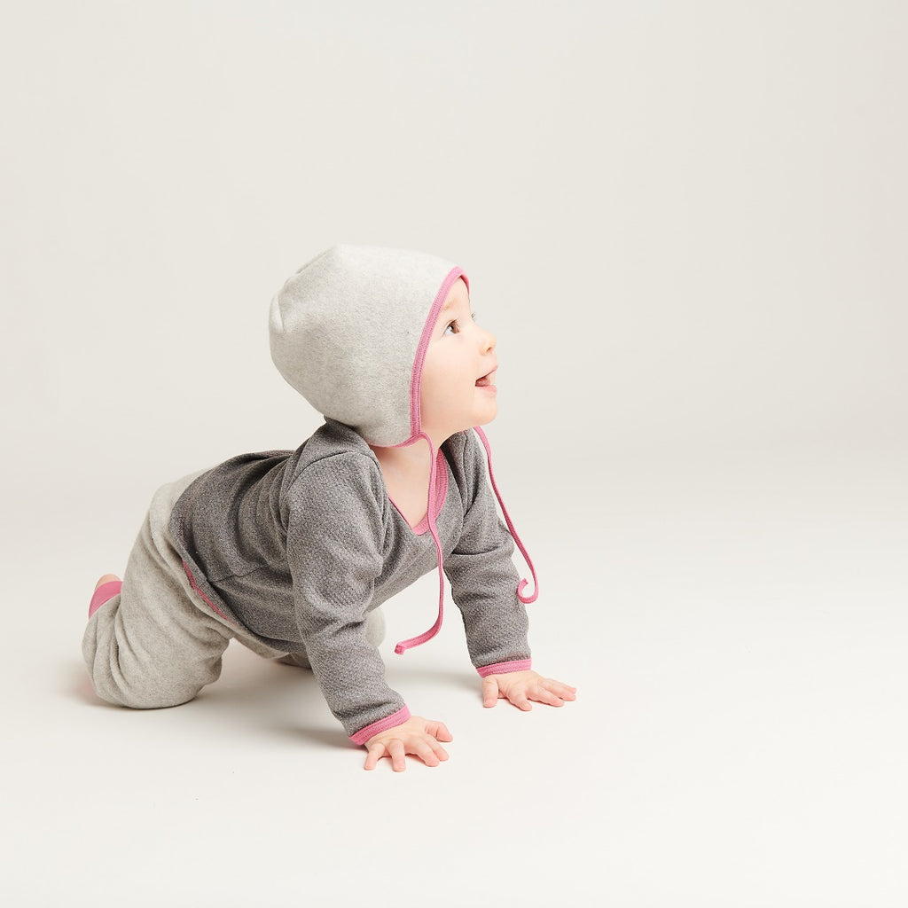 "Long sleeve baby top ""Interlock Doubleface Grey/Pink"""