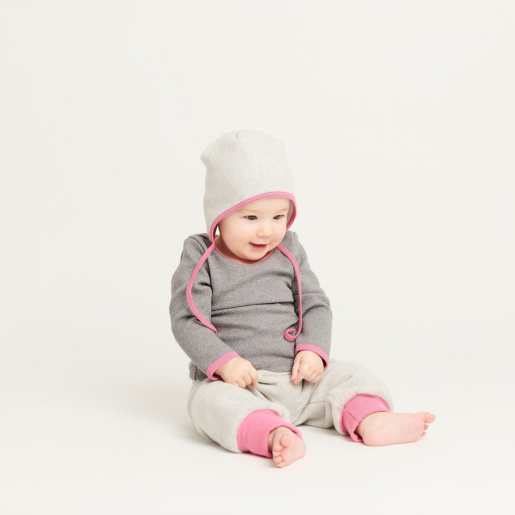 "Baby fleece pants ""Fleece Grey/Pink"" - Cheeky Apple"