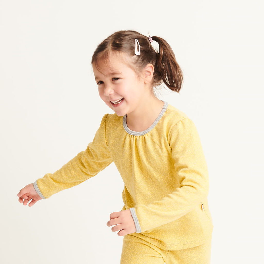 "Girl`s Long-sleeve top ""Dotties Bamboo/Grey"" - Cheeky Apple"