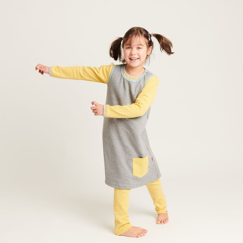 "Sleeveless sweat dress ""Sweat Grey/Dotties Bamboo"""