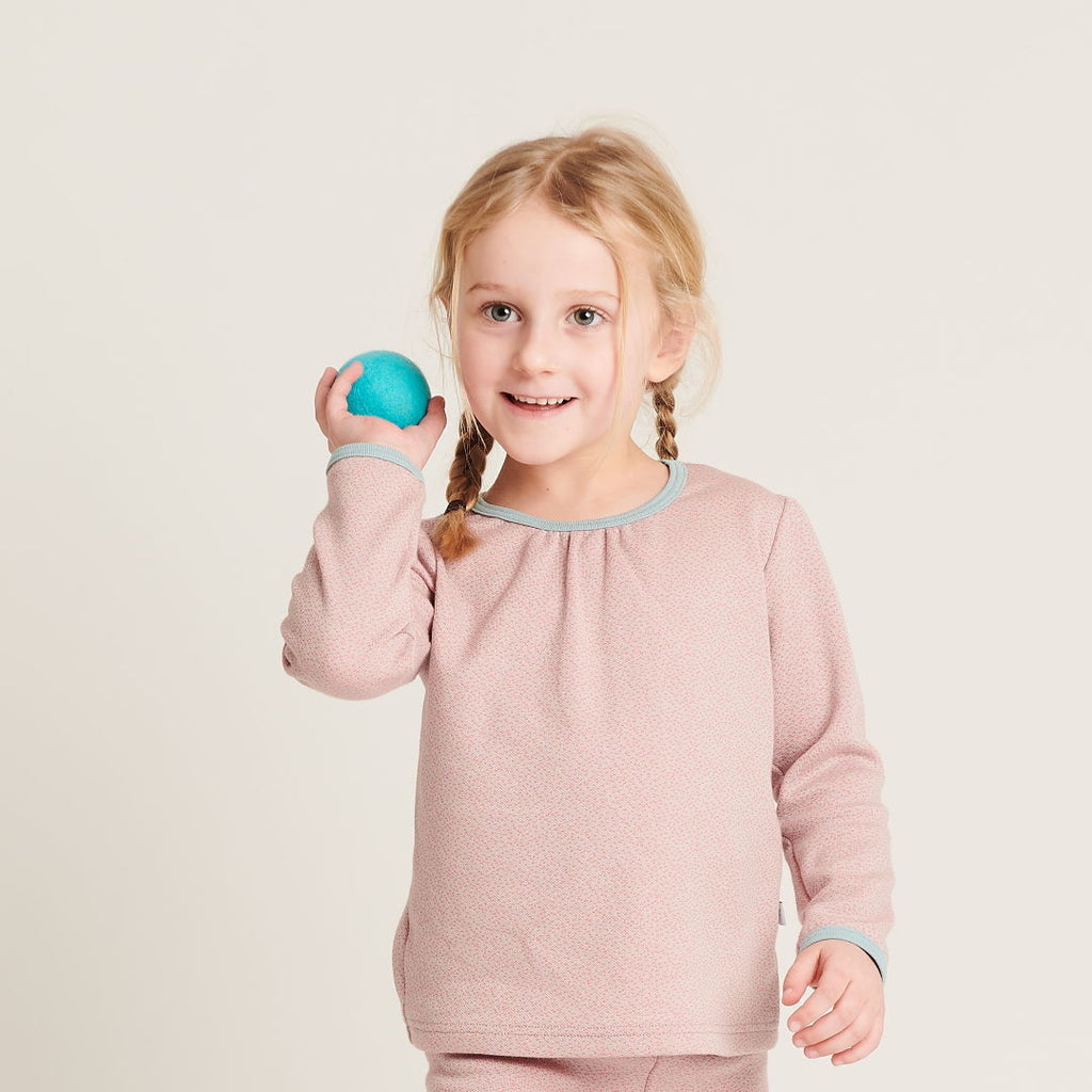"Girl`s Long-sleeve top ""Dotties Pink/Stone Blue"""