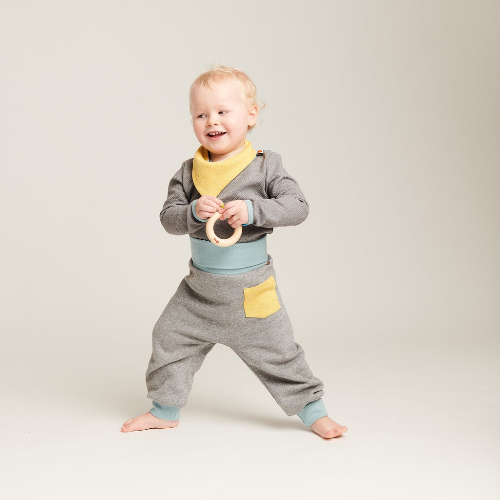 "Baby sweat pants with pockets ""Sweat Grey/Dotties Bamboo"" - Cheeky Apple"