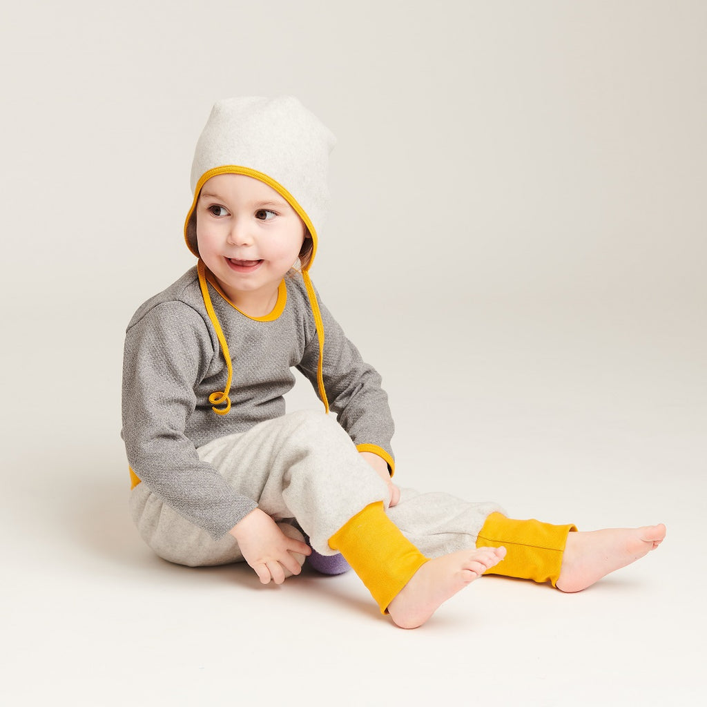 "Baby fleece pants ""Fleece Grey/Mustard"" - Cheeky Apple"