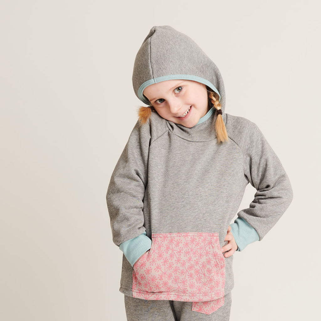 "Hooded Jumper ""Sweat Grey/Dandelion Pink"" - Cheeky Apple"