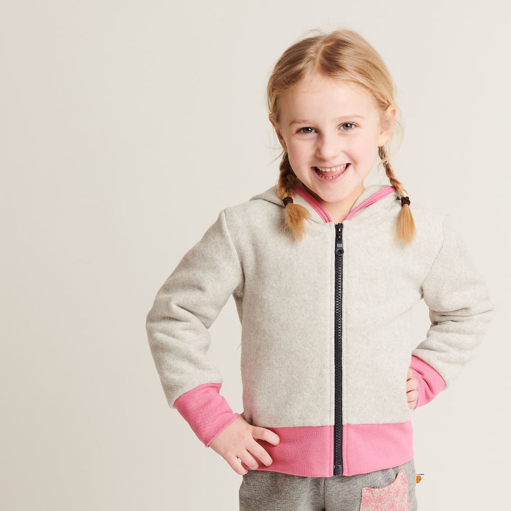 "Fleece Jacket ""Fleece Grey/Pink"" - Cheeky Apple"