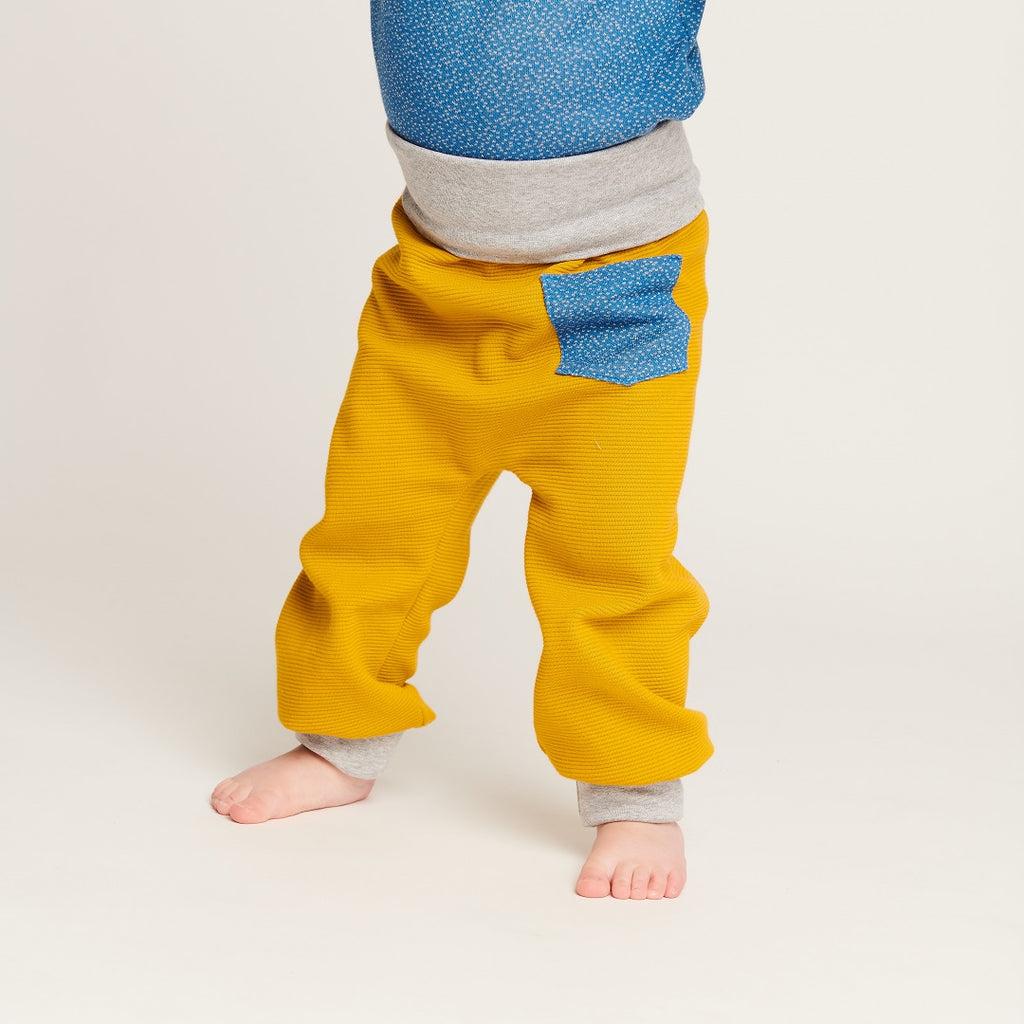 "Baby pants with pockets ""Rib Mustard/Dotties Blue"" - Cheeky Apple"