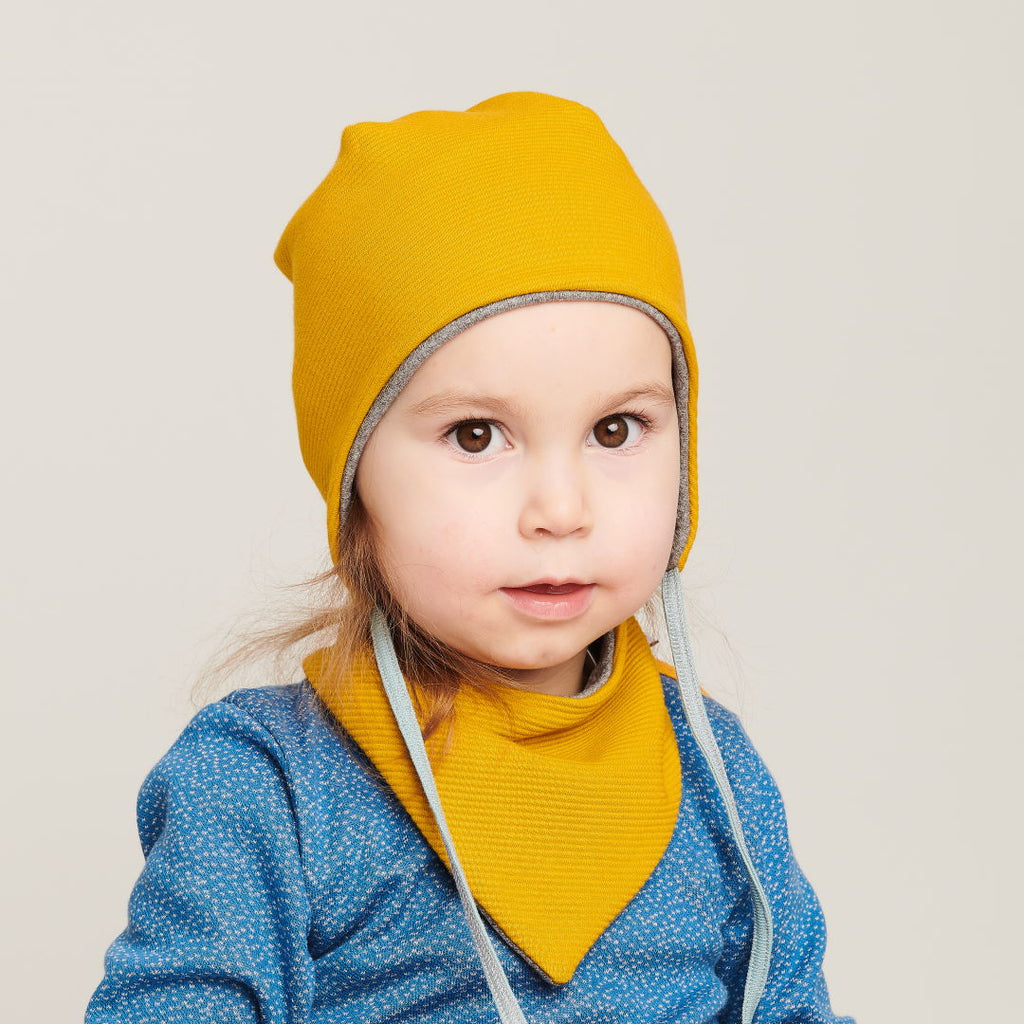 "Dribble bib ""Rib Mustard/Interlock Doubleface Grey"" - Cheeky Apple"