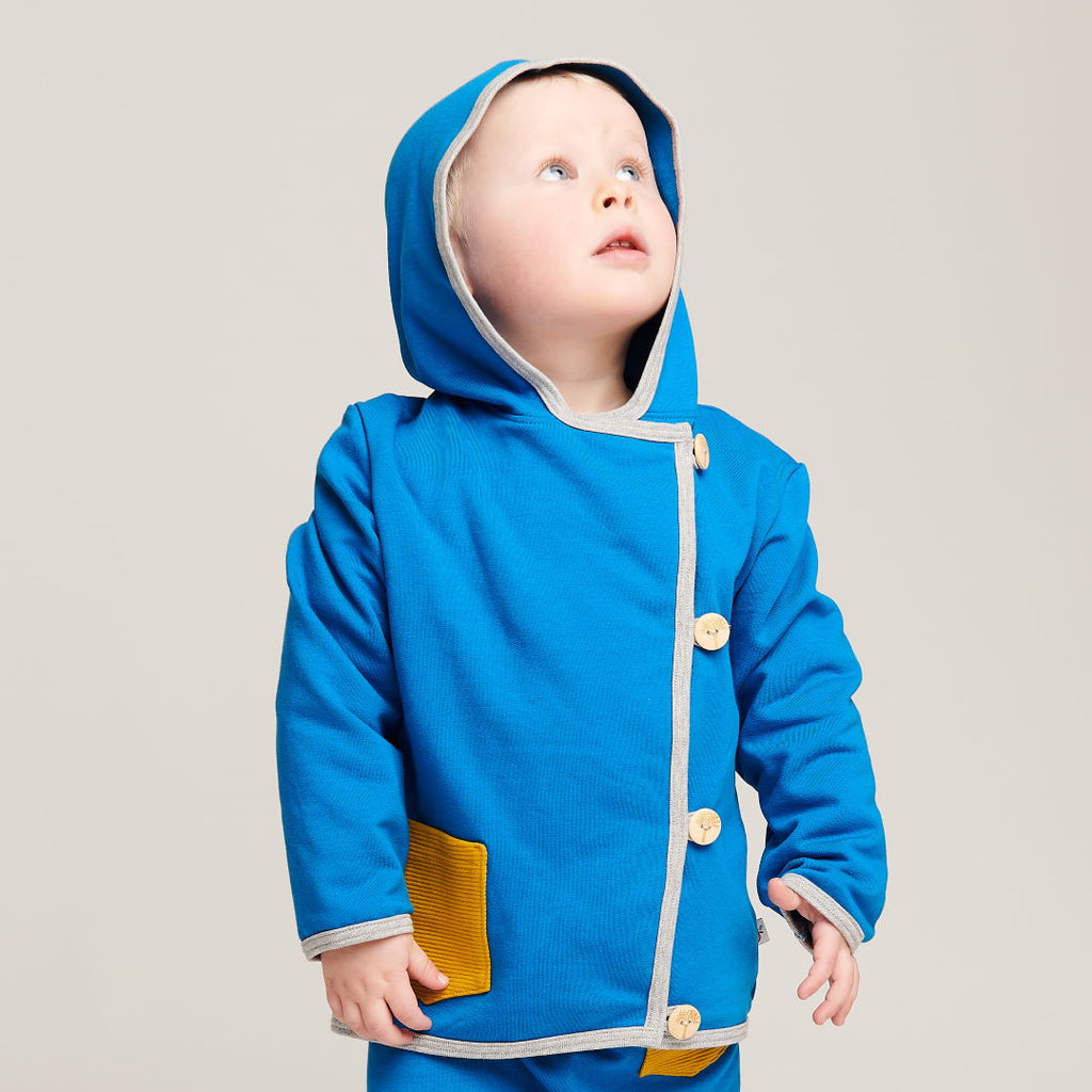 "Baby Hoodie Jacket ""Sweat Blue/Rib Mustard"" - Cheeky Apple"
