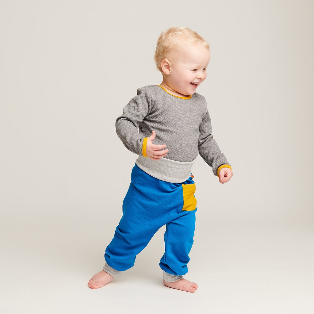 "Baby Sweat pants with pockets ""Sweat Blue/Rib Mustard"" - Cheeky Apple"