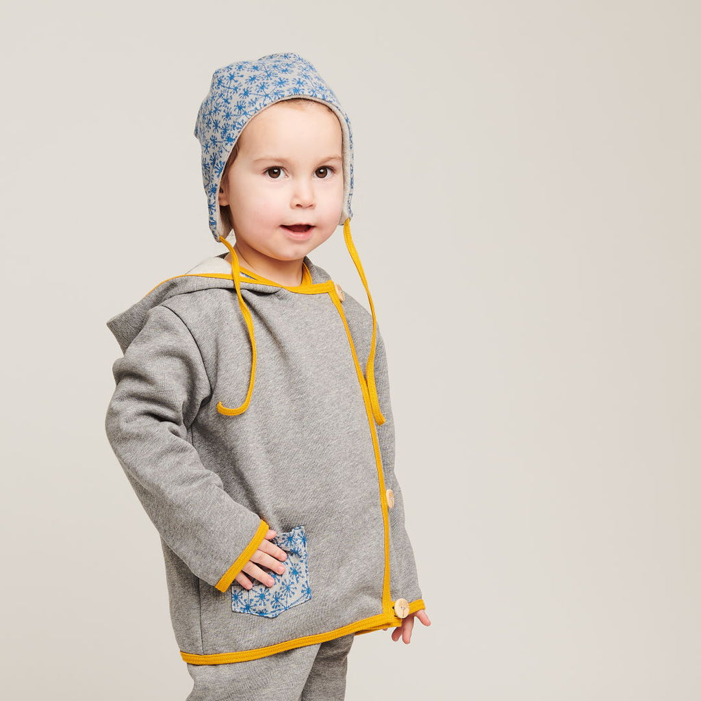 "Baby Hoodie Jacket ""Sweat Grey/Dandelion Blue"""