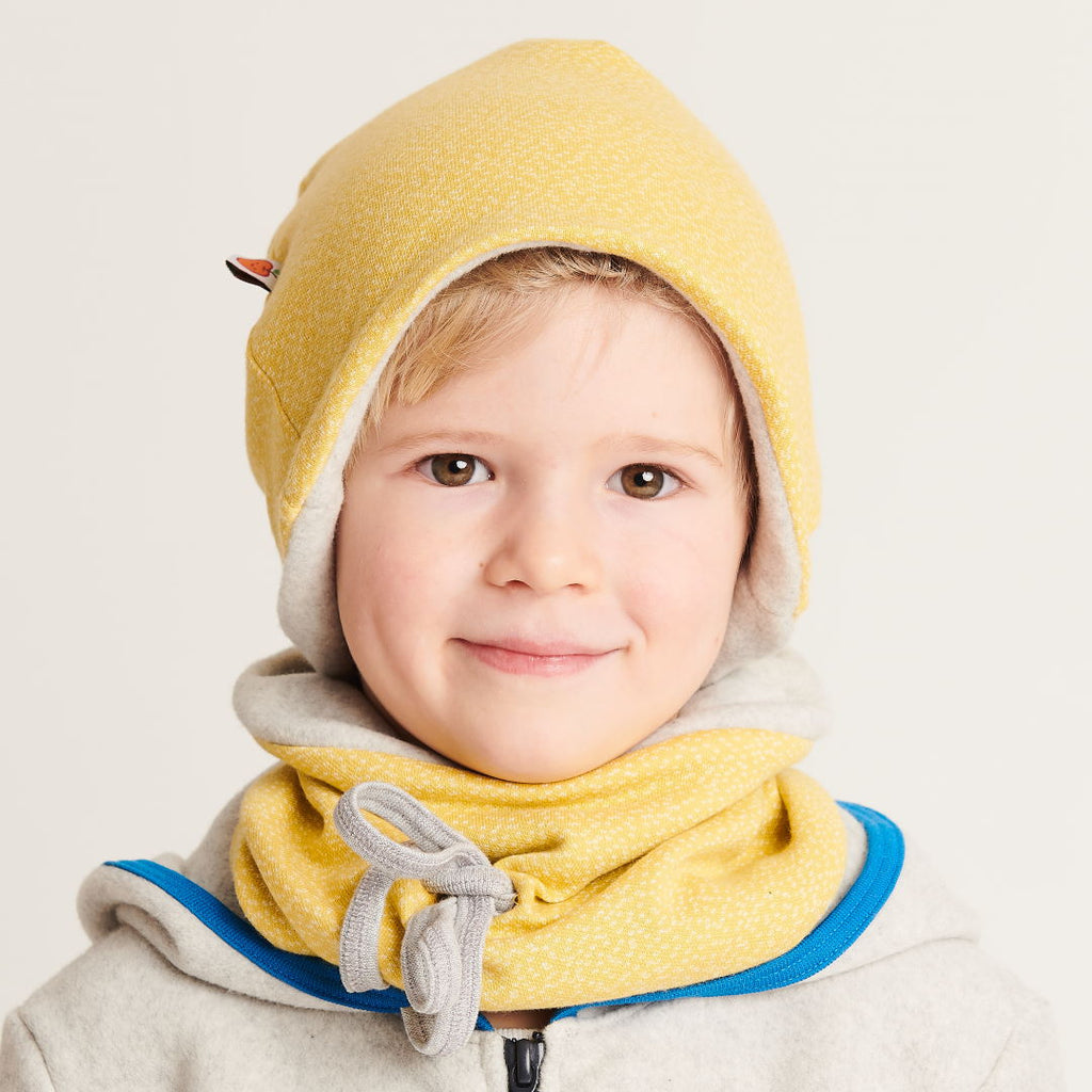 "Lined neck warmer ""Dotties Bamboo/Fleece Grey"""