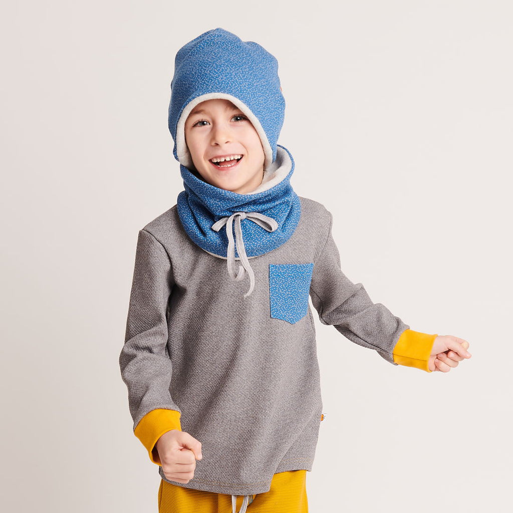 "Boy`s Long-sleeve top ""Interlock Doubleface Grey/Dotties Blue"" - Cheeky Apple"