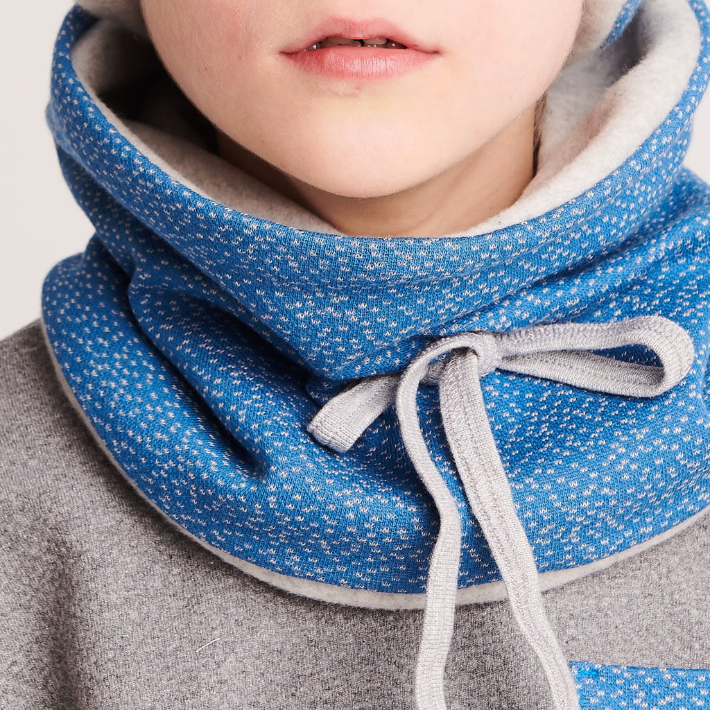 "Lined neck warmer ""Dotties Blue/Fleece Grey"""