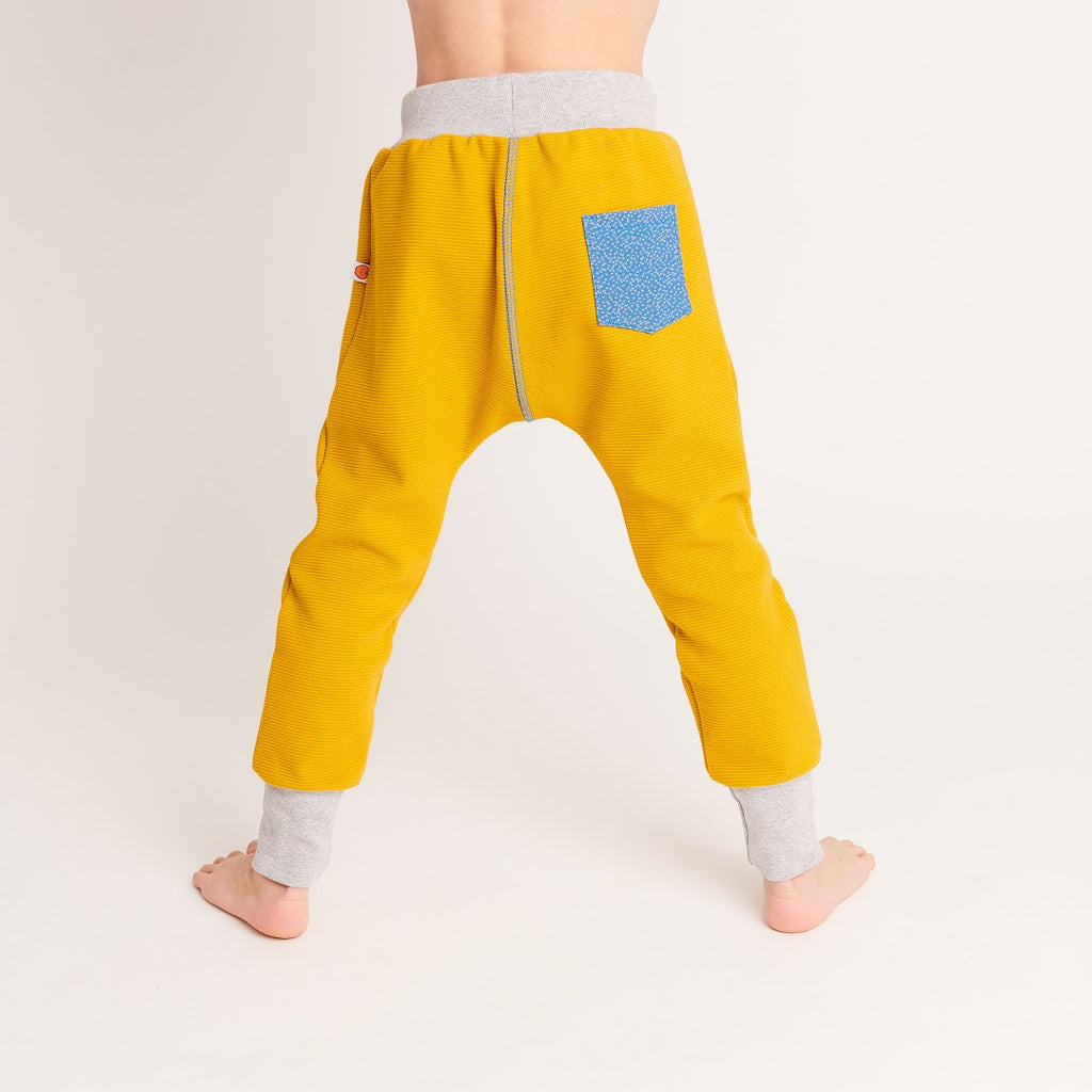 "Boy`s Sweatpants ""Rib Mustard/Dotties Blue"""
