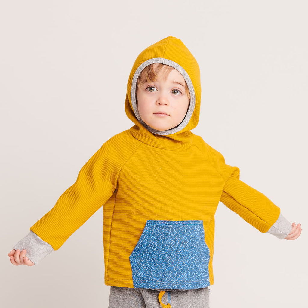 "Hooded Jumper ""Rib Mustard/Dotties Blue"" - Cheeky Apple"