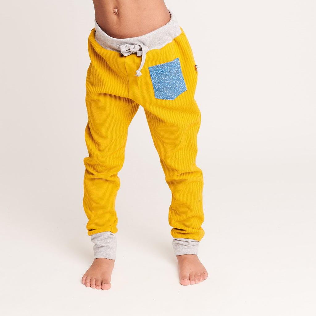 "Girl`s Sweatpants ""Rib Mustard/Dotties Blue"" - Cheeky Apple"