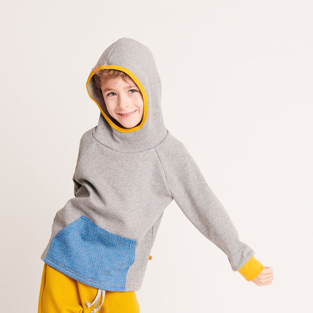 "Hooded Jumper ""Sweat Grey/Dotties Blue"" - Cheeky Apple"
