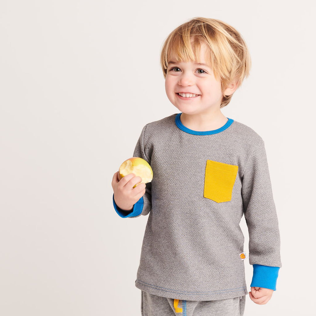 "Boy`s Long-sleeve top ""Interlock Doubleface Grey/Rib Mustard"" - Cheeky Apple"