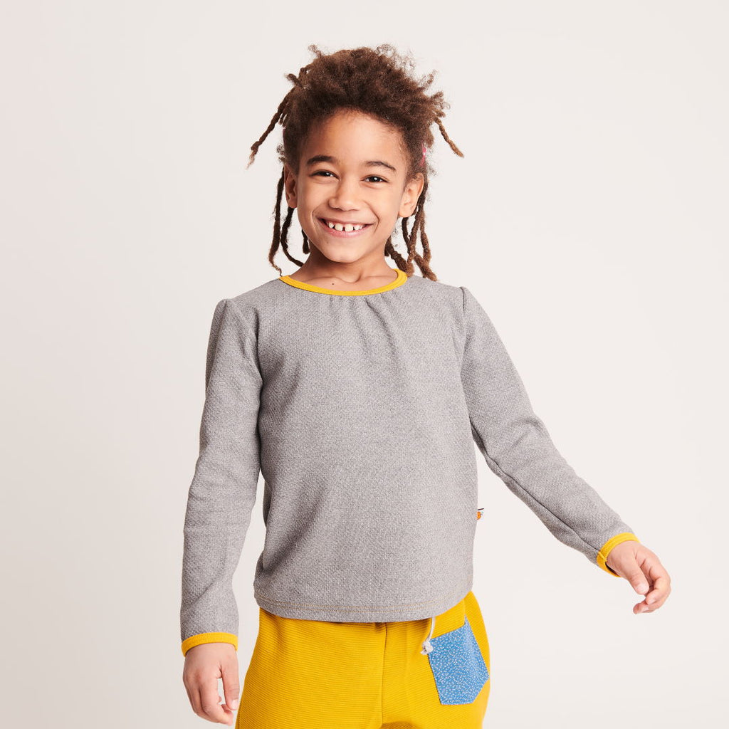 "Girl`s Long-sleeve top ""Interlock Doubleface Grey/Mustard"" - Cheeky Apple"