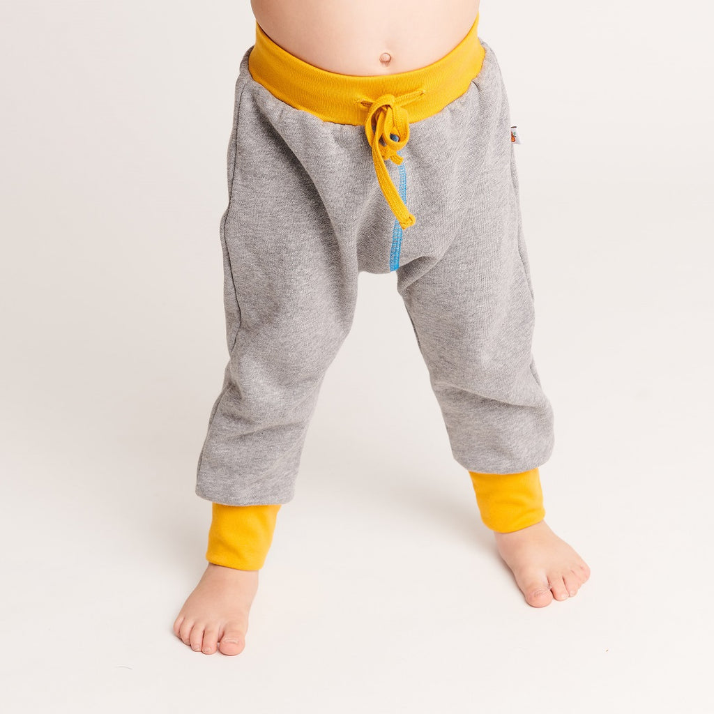 "Boy`s Sweatpants ""Sweat Grey/Dotties Blue"" - Cheeky Apple"
