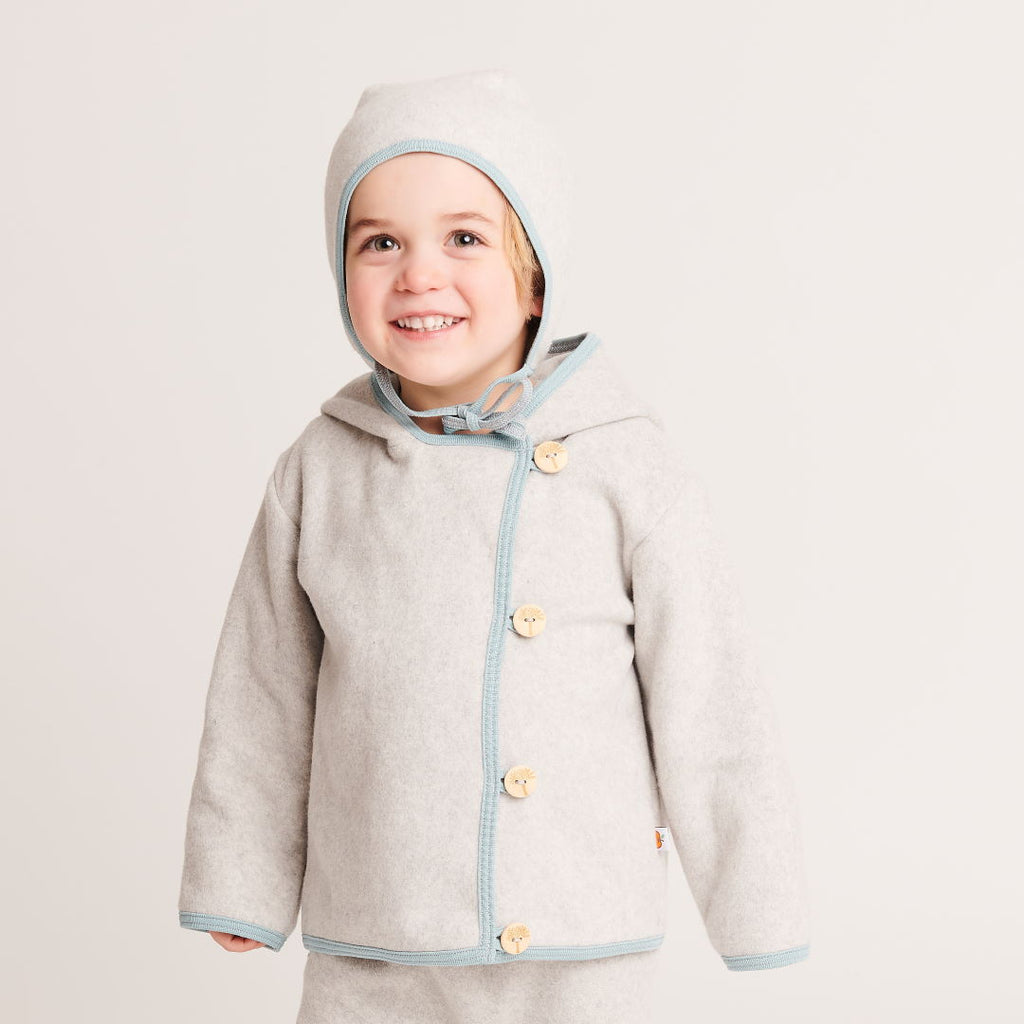 "Fleece baby jacket ""Fleece Grey/Stone Blue"" - Cheeky Apple"