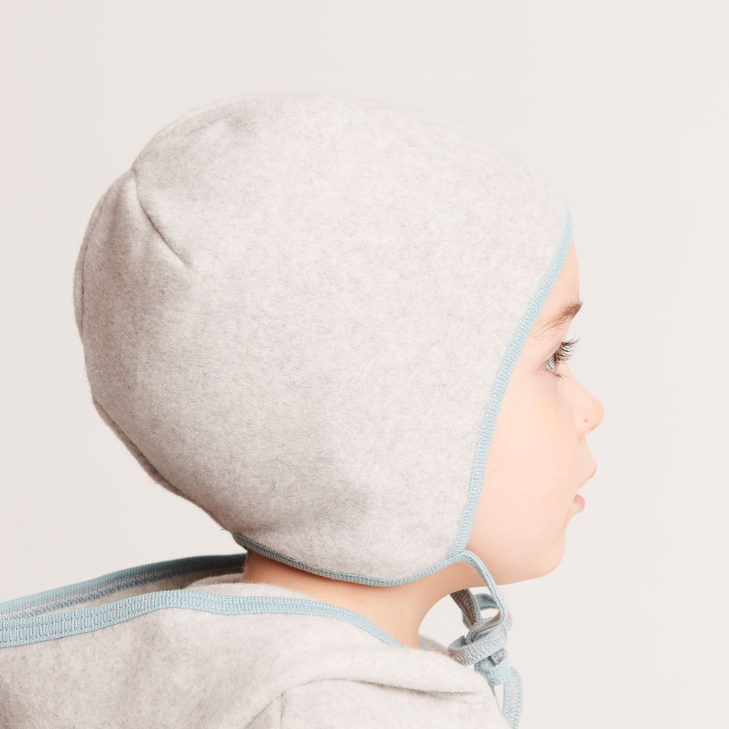 "Fleece baby hat with ear flaps ""Fleece Grey/Stone Blue"" - Cheeky Apple"