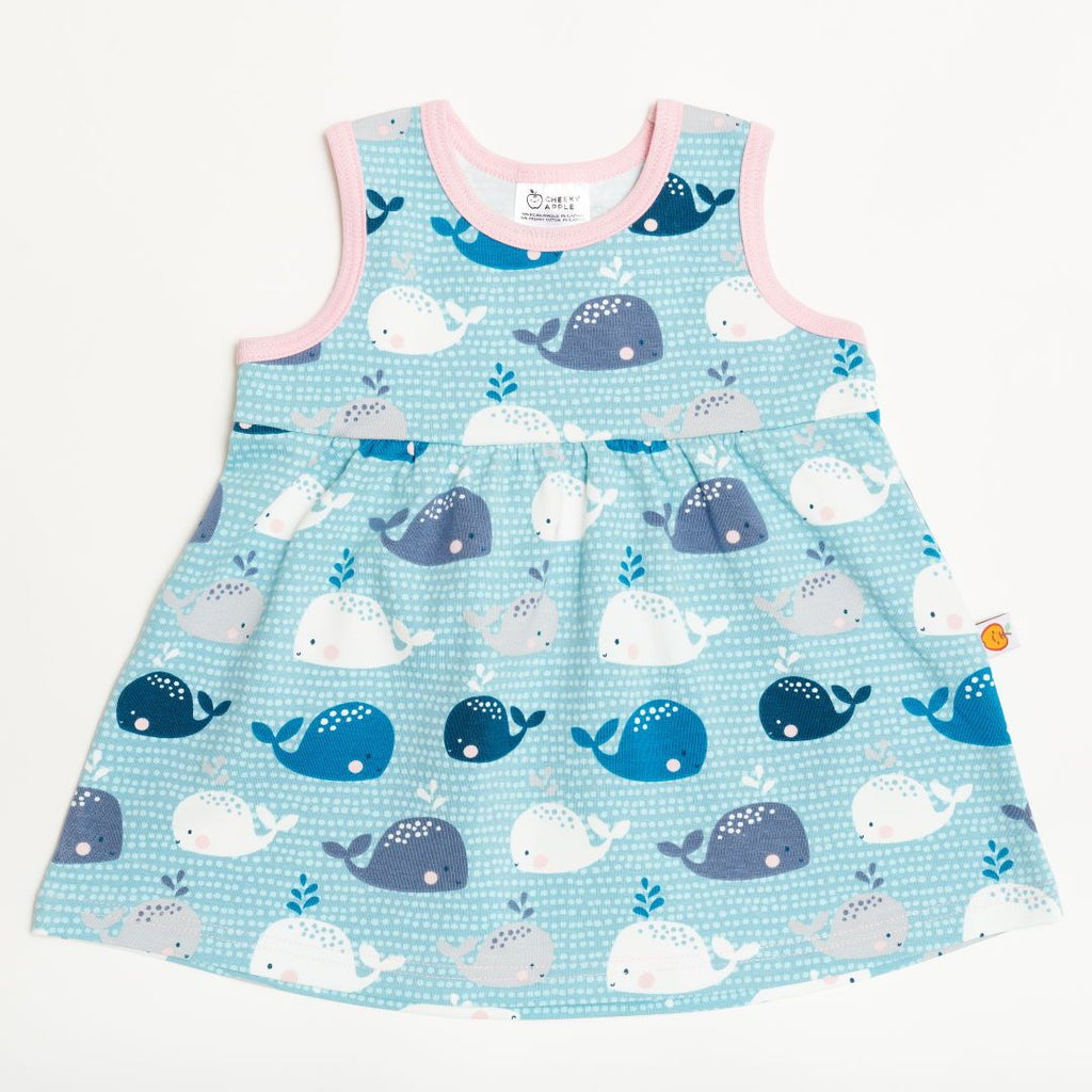 "Sleeveless dress ""Whales/Baby Pink"""