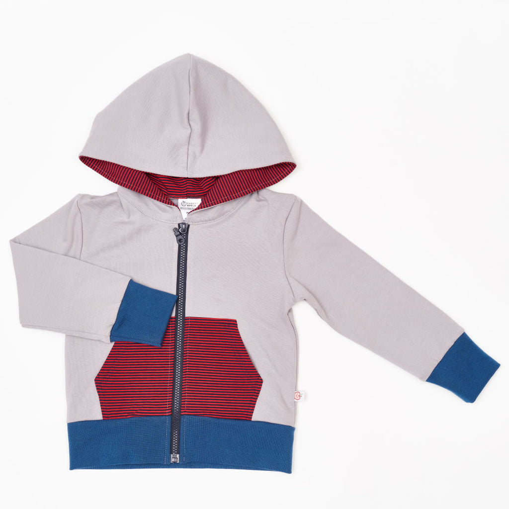 "Sweat Hoodie ""Grey/Dark blue-red Stripes"""