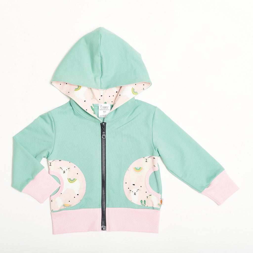 "Sweat Hoodie ""Summersweat Mint Green/Alpakas Pink"""