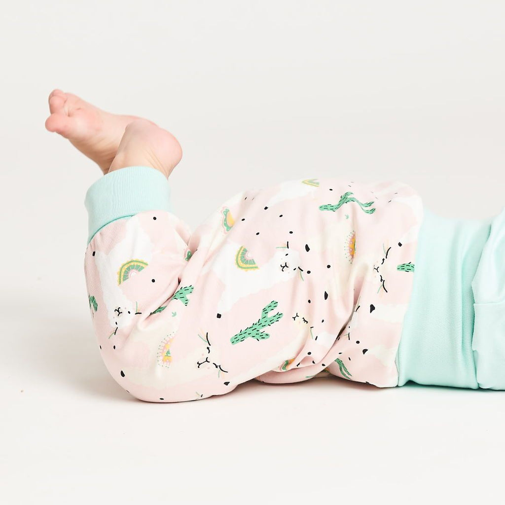 "Baby pants ""Alpakas Pink/Spearmint"""
