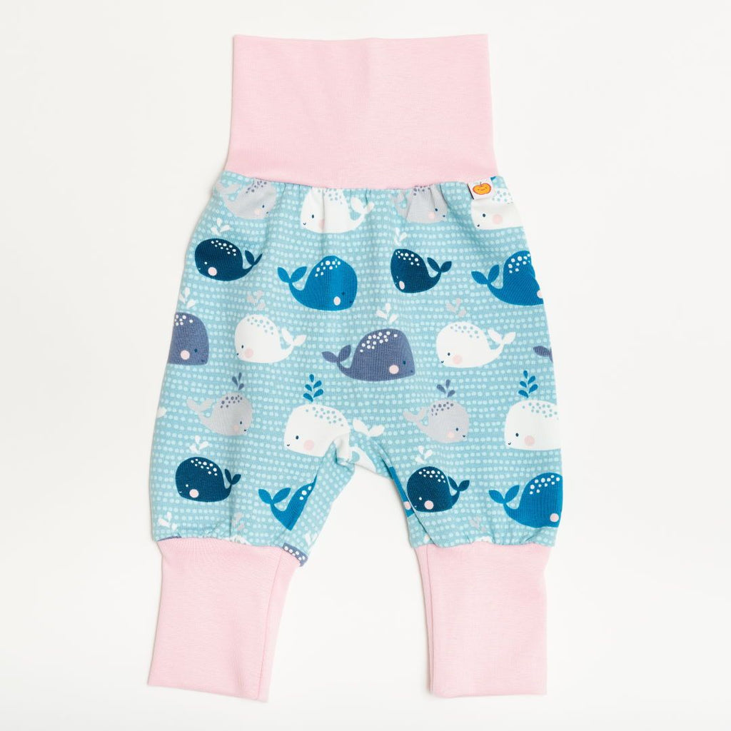 "Baby pants ""Whales/Baby Pink"""