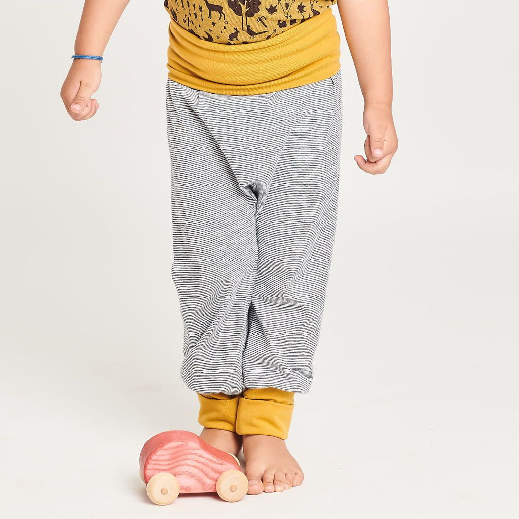 "Baby pants ""White-Navy Stripes/Ochre"""