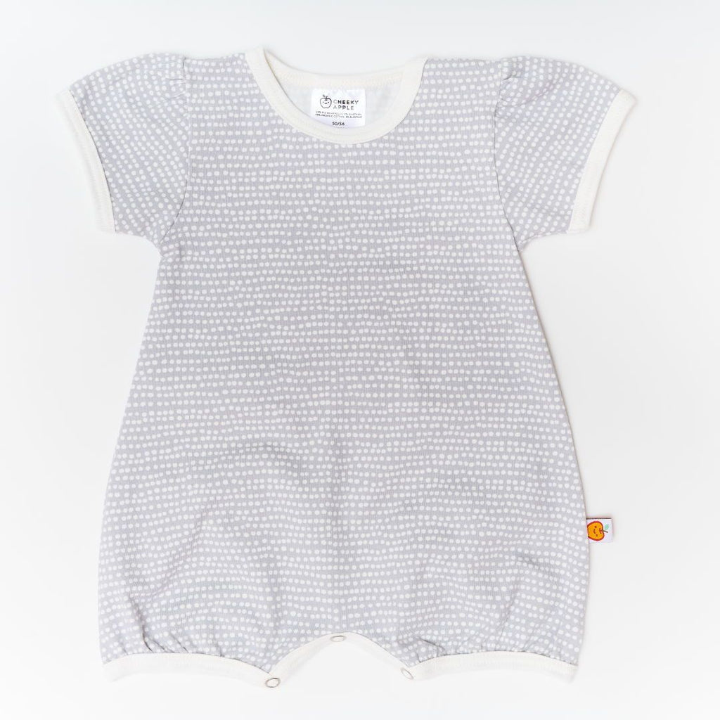 "Short-sleeve Playsuit ""Dotted Lines Grey/Ecru"""