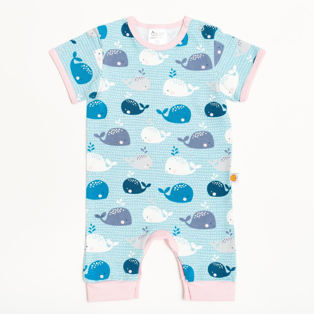 "Short-sleeved romper ""Whales/Baby Pink"""