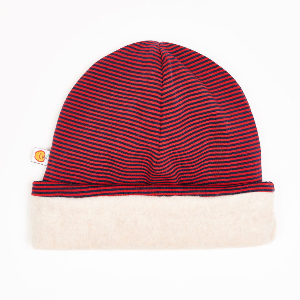 "Lined Beanie ""Jersey Dark blue & red Stripes/Fleece Nude Marl"""