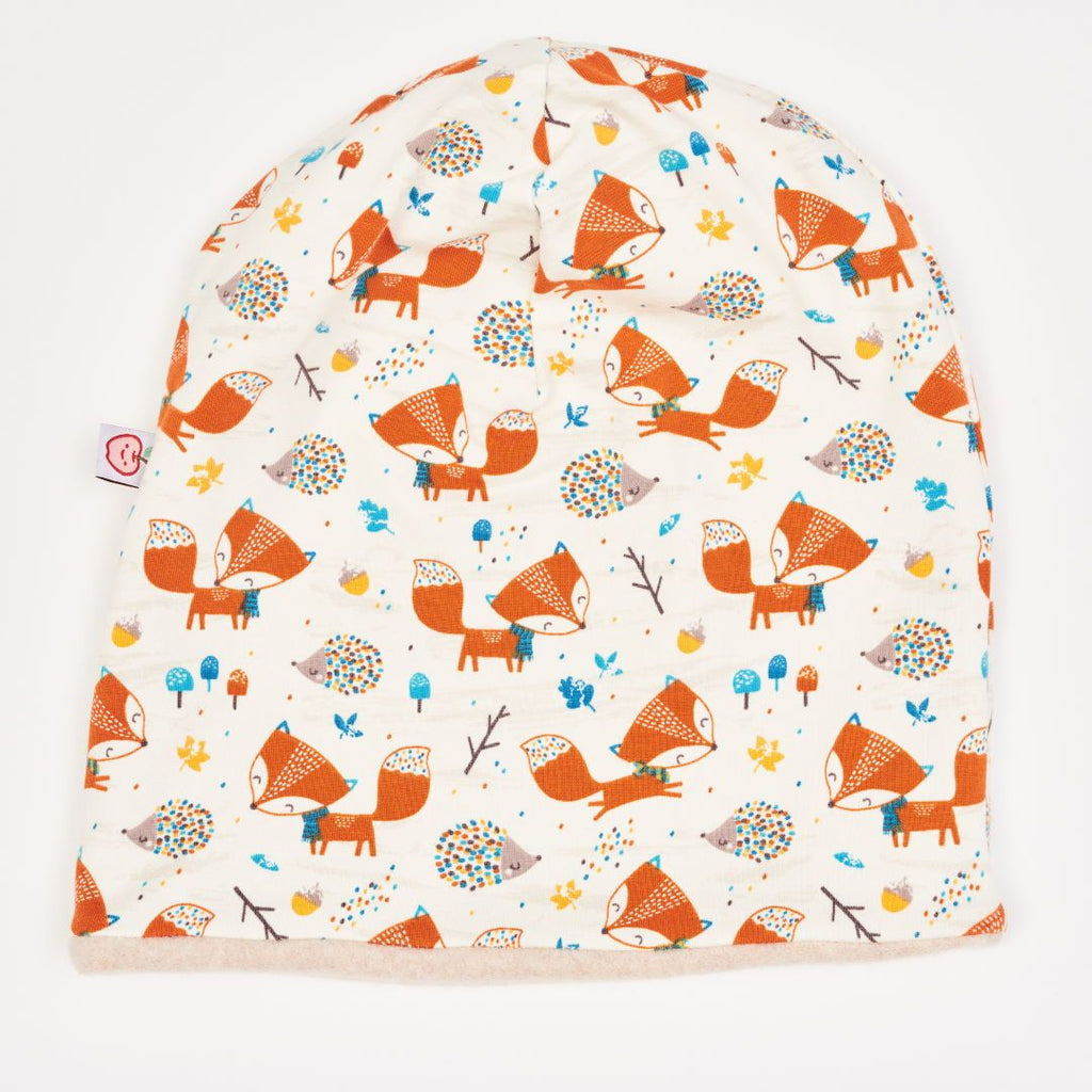 "Lined Beanie ""Fox & Hedgehog