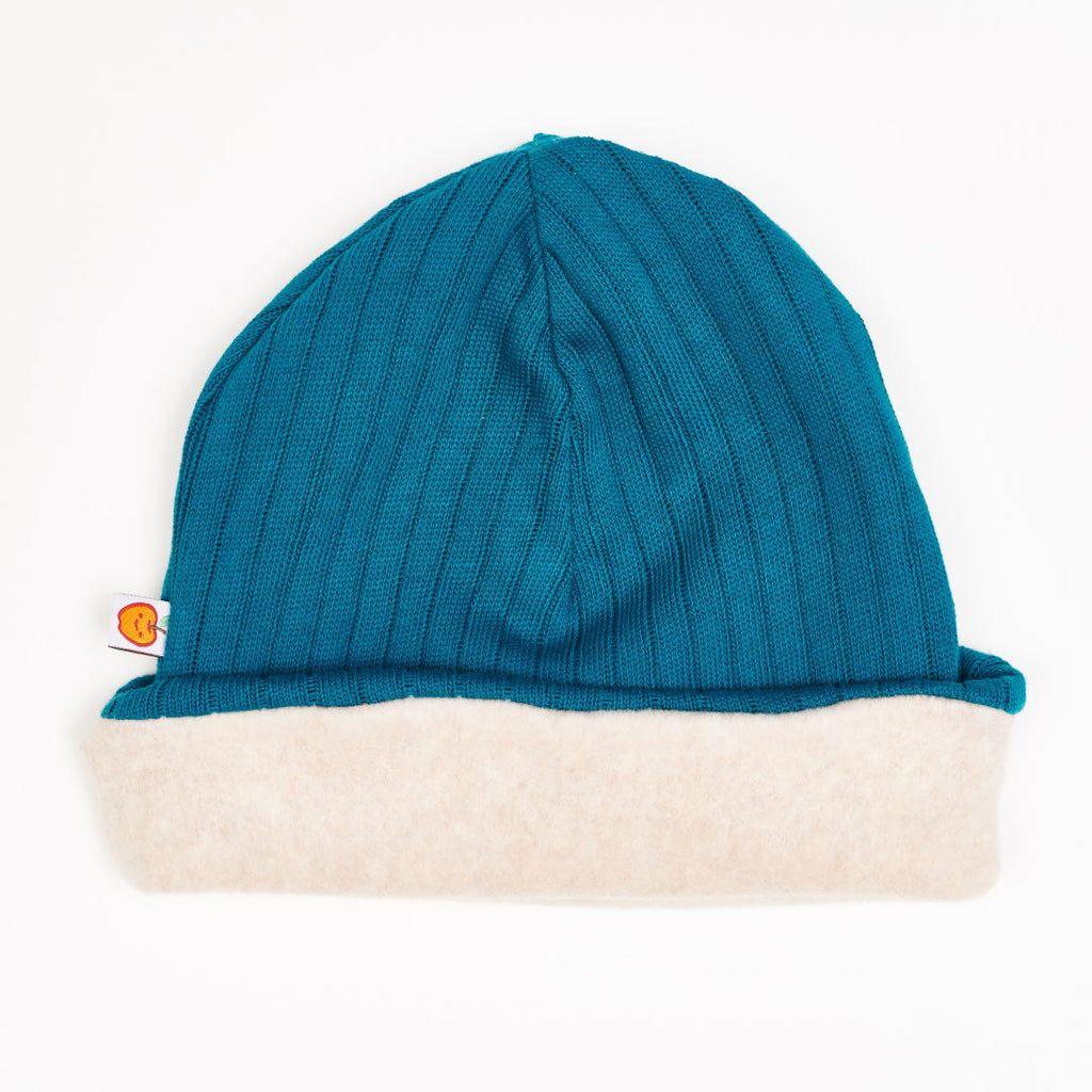 "Lined Beanie ""Rib knit petrol/Fleece Nude Marl"""