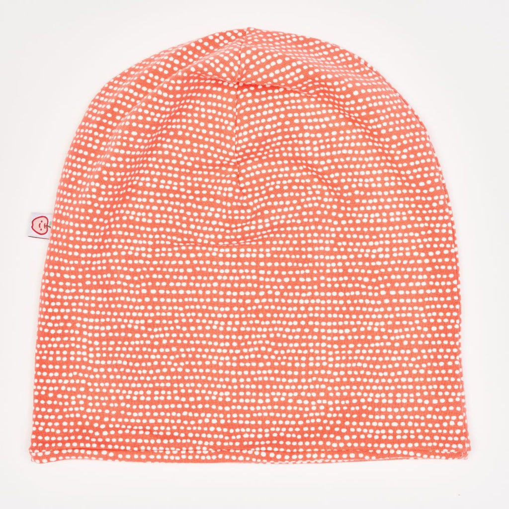 "Beanie-Haube ""Dotted Lines Koralle"""