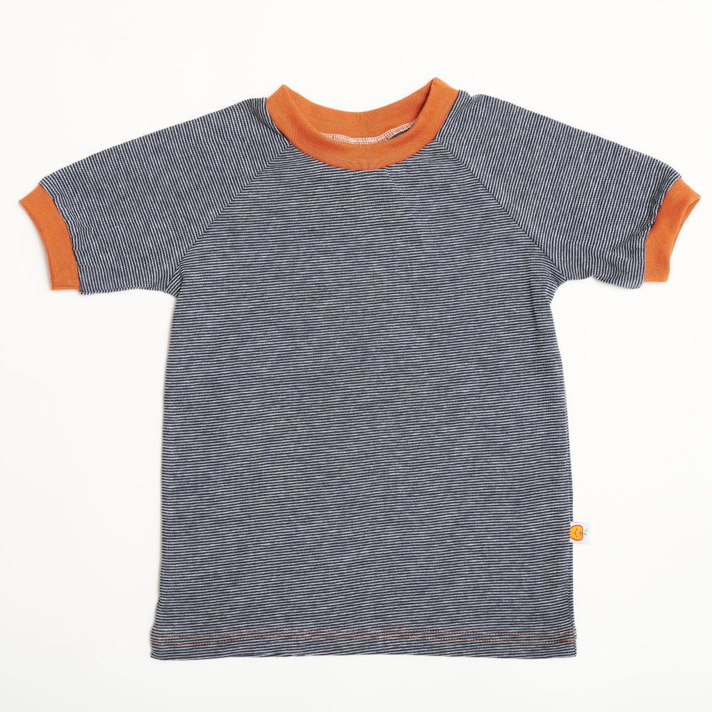 "Boys' T-shirt ""Navy-White Stripes/Copper"""