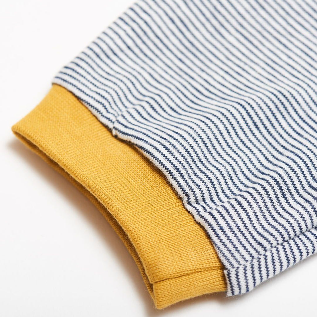 "Boys' T-shirt ""White-Navy Stripes/Ochre"""