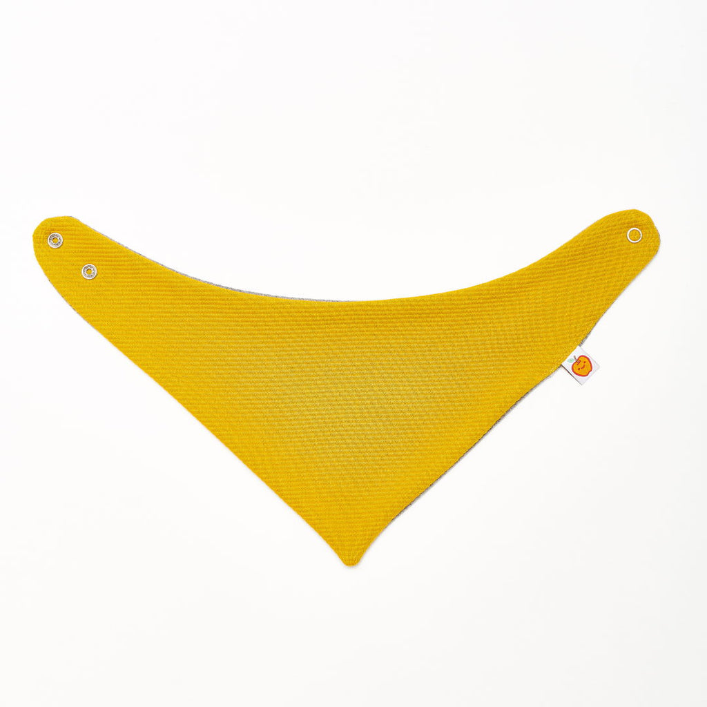 "Dribble bib ""Rib Mustard/Interlock Doubleface Grey"""