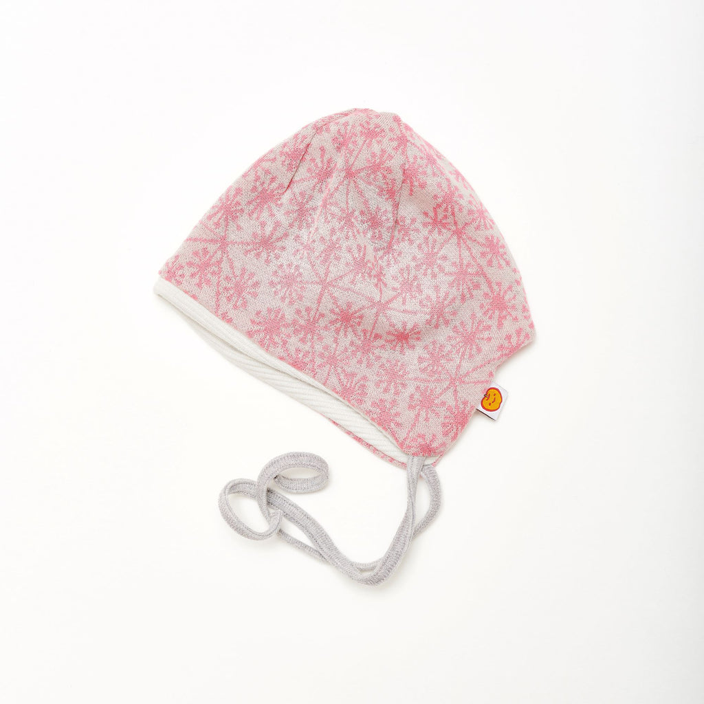 "Baby hat with earflaps ""Dandelion Pink/Rib Glacier"""