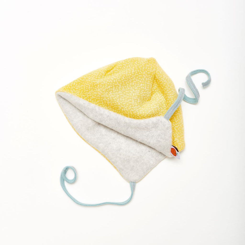 "Lined baby hat with ear flaps ""Dotties Bamboo/Fleece Grey"""