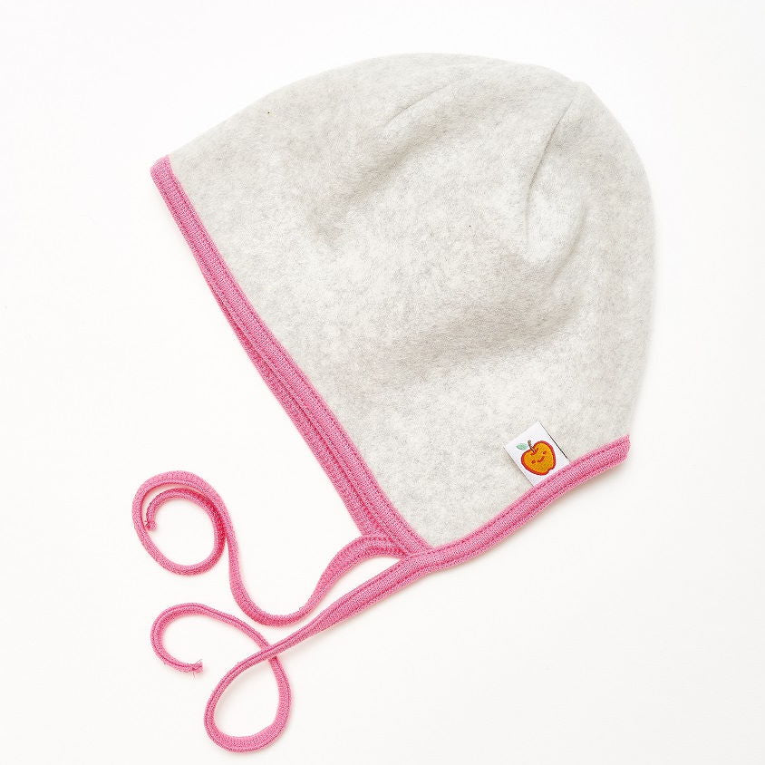 "Fleece baby hat with ear flaps ""Fleece Grey/Pink"""