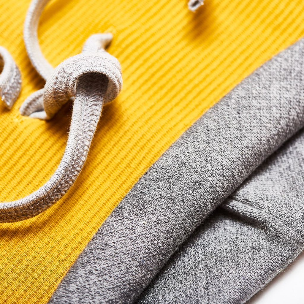 "Neck warmer ""Rib Mustard/Interlock Doubleface Grey"""