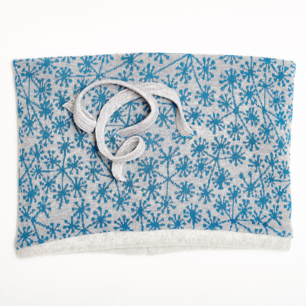 "Lined neck warmer ""Dandelion Blue/Fleece Grey"""